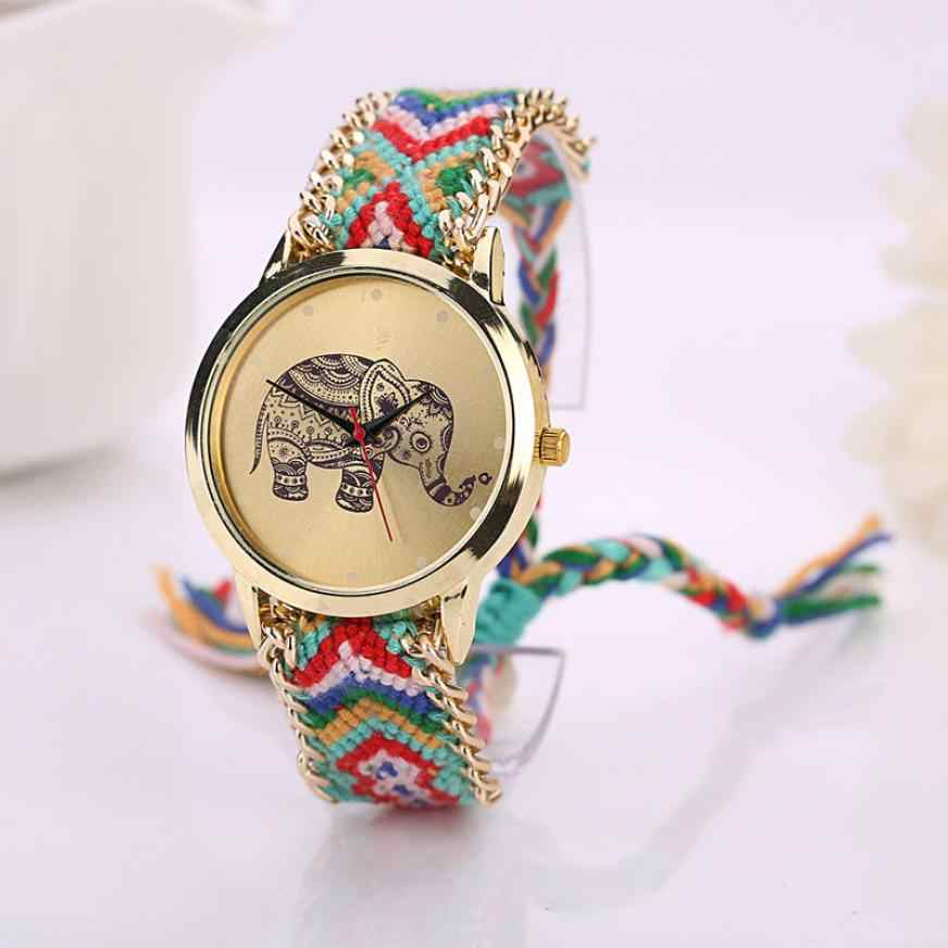 Timezone #301 Duobla Simple Women Elephant Pattern Weaved Rope Band Bracelet Quartz Dialwatch Gift Dress Women Watch Clock