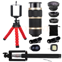 Fish Eye Wide Angle Macro Lenses 8X Telephoto Zoom Lentes For IPhone 7 Smartphone Selfie Lamp