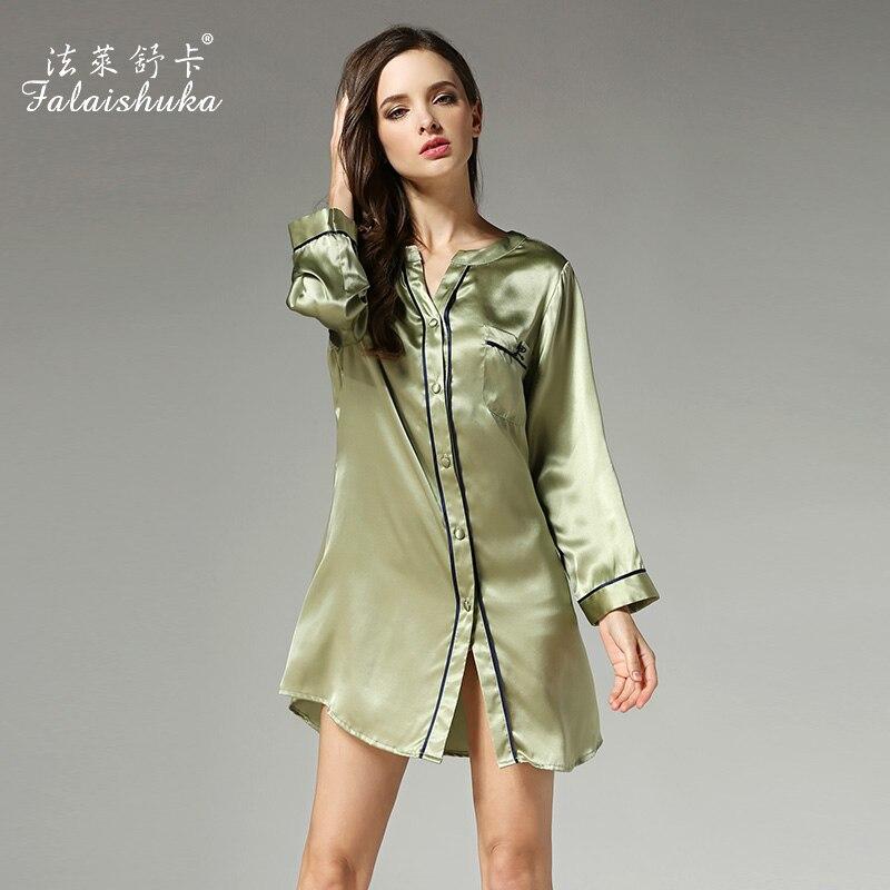 100% silk night sleepwears 2019brand women full sleeve button sexy short mini slim   nightgowns   summer fashion woman   sleepshirts