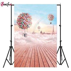 Фон для фотосъемки розовые радужные воздушные шары голубое небо фон для фотостудии для детей портретная съемка