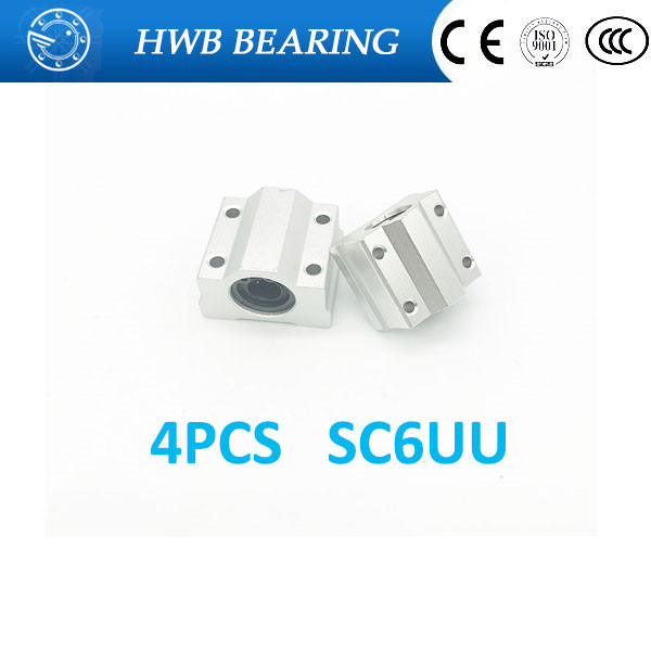 High quality 4 pcs SC6UU SCS6UU Linear motion ball bearings slide block bushing for 12mm linear shaft guide rail scv25uu slide linear bearings aluminum box type cylinder axis scv25 linear motion ball silide units cnc parts high quality