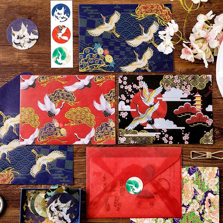 3PCS/PACK Retro Crane Flower Envelope Transparent Gold Vintage Envelopes Wedding Card Scrapbooking Gift School Supplies Sl2031