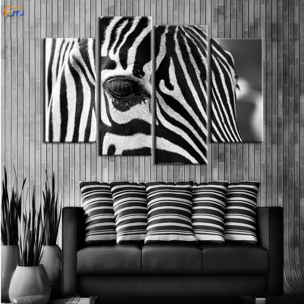 4 Pcs Home Decor African Zebra Oil Painting On Canvas Wall Art Gift Hd Print Waterproof