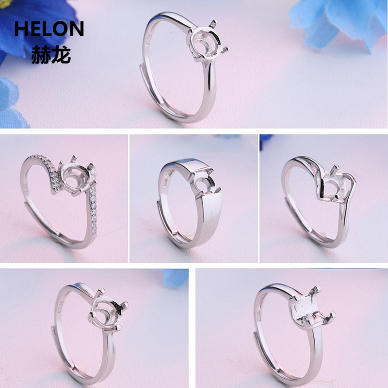 925 Sterling Silver Women Engagement Wedding Ring For Women 5-6mm Round Cut Semi Mount Ring Setting Wholesale