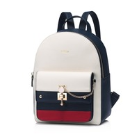 NUCELLE Women's Leather Backpack Ladies Fashion Cat Ear Lock Chains Daily Shoulder Bags Female Elegant Panelled Travel Backpack 1