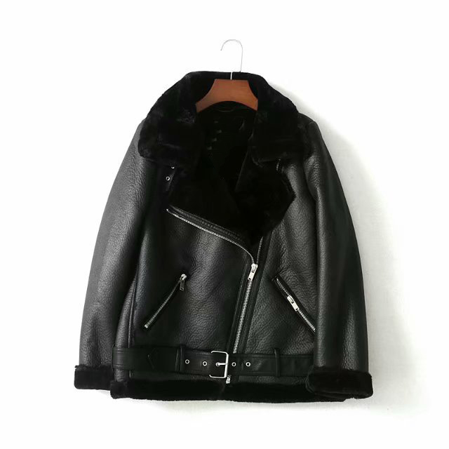 Autumn Winter Women Sashes Pu Leather Coat Turn-Down Collar Zipper Warm Jacket Casual Imitation Fur Leather Jacket Outwear