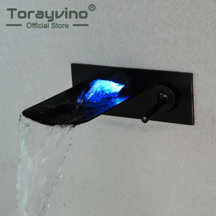 Torayvino LED Bathroom Basin Brass Sink Waterfall Oil Rubbed Bronze Finish Mixer Tap Faucet Wall Mounted Bathroom Mixer Tap allen roth brinkley handsome oil rubbed bronze metal toothbrush holder