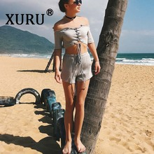 XURU summer new best selling jumpsuit two-piece suit sexy cross strapless beach holiday wind