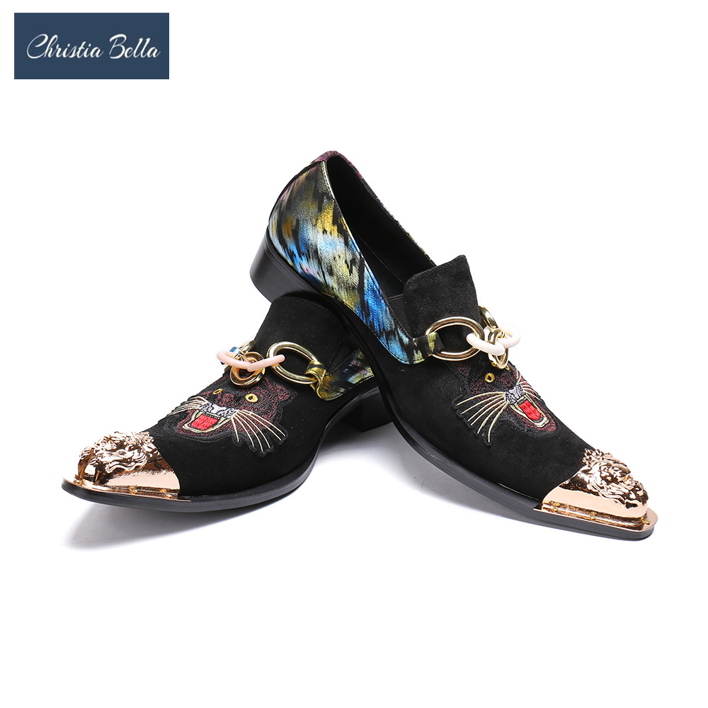 Christia Bella Classic   Suede     Leather   Tiger Print Men Dress Shoes Wedding Shoes Sapatos Oxfords Shoes for Men Paty Work Flats