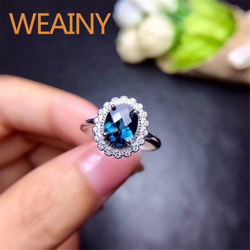 2 carats naturel topaze bleu londres 925 en argent Sterling blanc or bagues de luxe bijoux fins pour les femmes