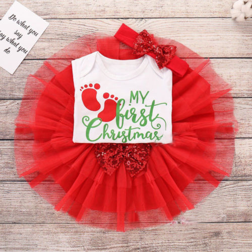 Newborn Baby Girl My First Christmas Tops Romper Skirt Headband Clothes Outfits newborn baby girl clothes set 3pcs kid party my first christmas cotton bodysuit sequin bowknot tulle tutu skirt headband outfit page 1