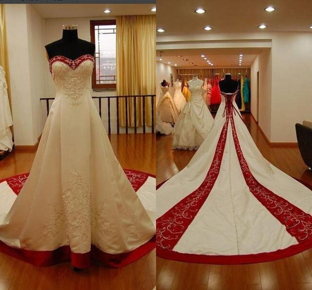 f8b5ce8aaa8a8 Real Photo Vintage Wedding Dresses Ivory and Red Beading Embroidery Bandage Country  Wedding Dress 2019 Bridal Gowns Casamento