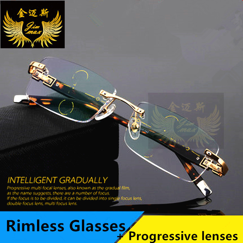 Mode Rimless Men Style Titanlegering Progressiva läsglasögon Quality Square Multifocal Presbyopia Glasses Frame för herrar