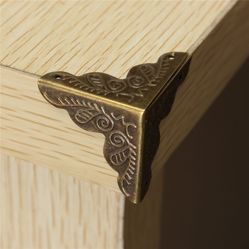 10pcs Antique Jewelry Box Corner Foot Wooden Case Corner Protector Tone Flower Pattern Carved Metal Crafts Bronze