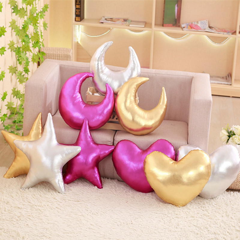 Us 12 88 50 Off Soft Shining Star Heart New Moon Shaped Cushion Sofa Pillow Throw Stuffed Gift Plush Baby Toy Friends In