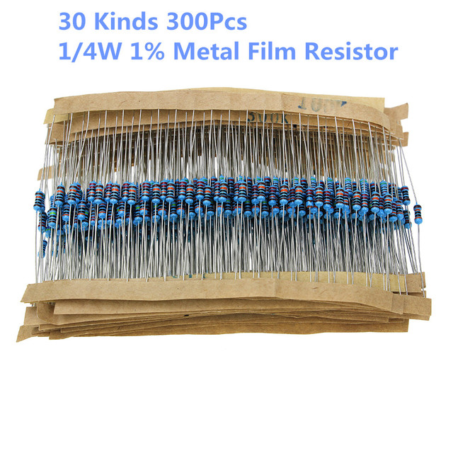 30 Kinds 1K 10K 100K 220ohm 1M Resistors 1/4W Resistance 1% Metal Film Resistor Pack Assorted Kit