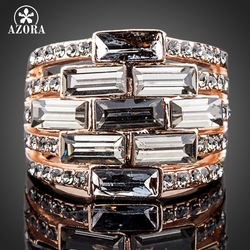 AZORA High Quality Rose Gold Color Full Stellux Austrian Crystal Ring TR0112