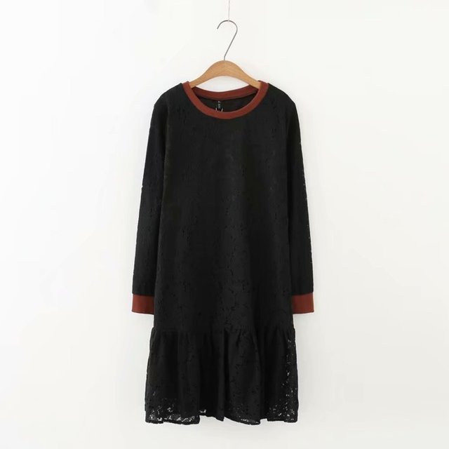 Plus size Lace Double layer O-Neck Long sleeves women dress 2018 Autumn casual black & Bluish grey ladies vestidos female 5XL