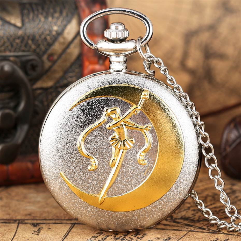 Classic Sailor Moon Theme Quartz Pocket Watch Roman Numerals Display Dial Silver Necklace Pendant Chain Best Gifts For Girls