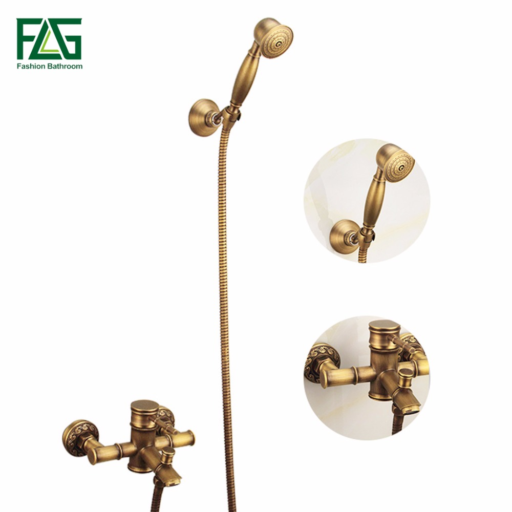 Antique Brass Hand Shower Sets Solid Brass Hand Shower Mixer, Antique Shower Faucet FLG40005A 1pcs lot scm1110mf