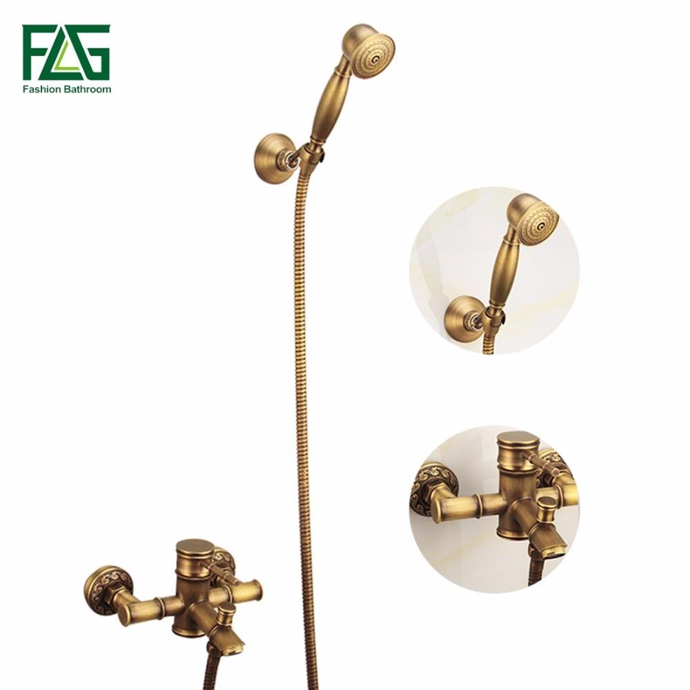 Antique Brass Hand Shower Sets Solid Mixer, Faucet FLG40005A