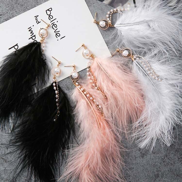 Japan Korean Fashion Sweet Feather Drop Earrings Simulated Pearls Tassel Rhinestone Chains Long Dangle Earring For Women Jewelry