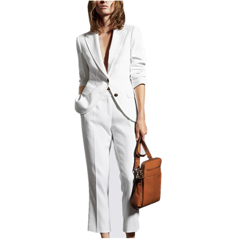 Women Pant Suits White Bussiness Formal Elegant 2 Piece Set Blazers And Pants Office Suits ...