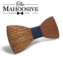 Mahoosive Wood Bow Tie Mens Wooden Bow Ties Gravatas Corbatas Business Butterfly Cravat Party Ties For Men Wood Ties(China)