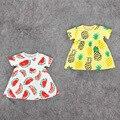 Vestidos de bebê 2016 Novo Bebé Frutas Melancia Abacaxi Padrão de Vestidos para o Verão Infantil Bebe Casuais Vestido de Manga Curta