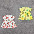 Vestidos del bebé 2016 Nuevo Bebé Frutas Sandía Piña Patrón de Vestidos de Verano Infantil Bebe Casual Vestido de Manga Corta
