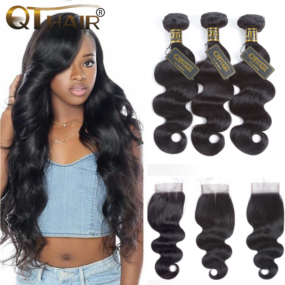 Body Wave Bundles With Closure Brazilian Hair Weave Bundles With Closure 100% Human Hair Bundles With Closure QT Hair Extensions