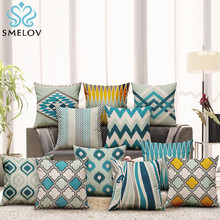 retro 45*45 square striped geometry pattern pillow cover case Cotton Linen printed pillowcase bed Euro throw pillow case retro world map pattern flax square shape pillowcase without pillow inner