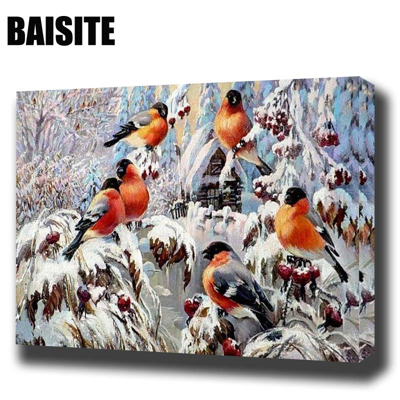 BAISITE DIY Framed Oil Painting By Numbers Animal Pictures Canvas Painting For Living Room Wall Art