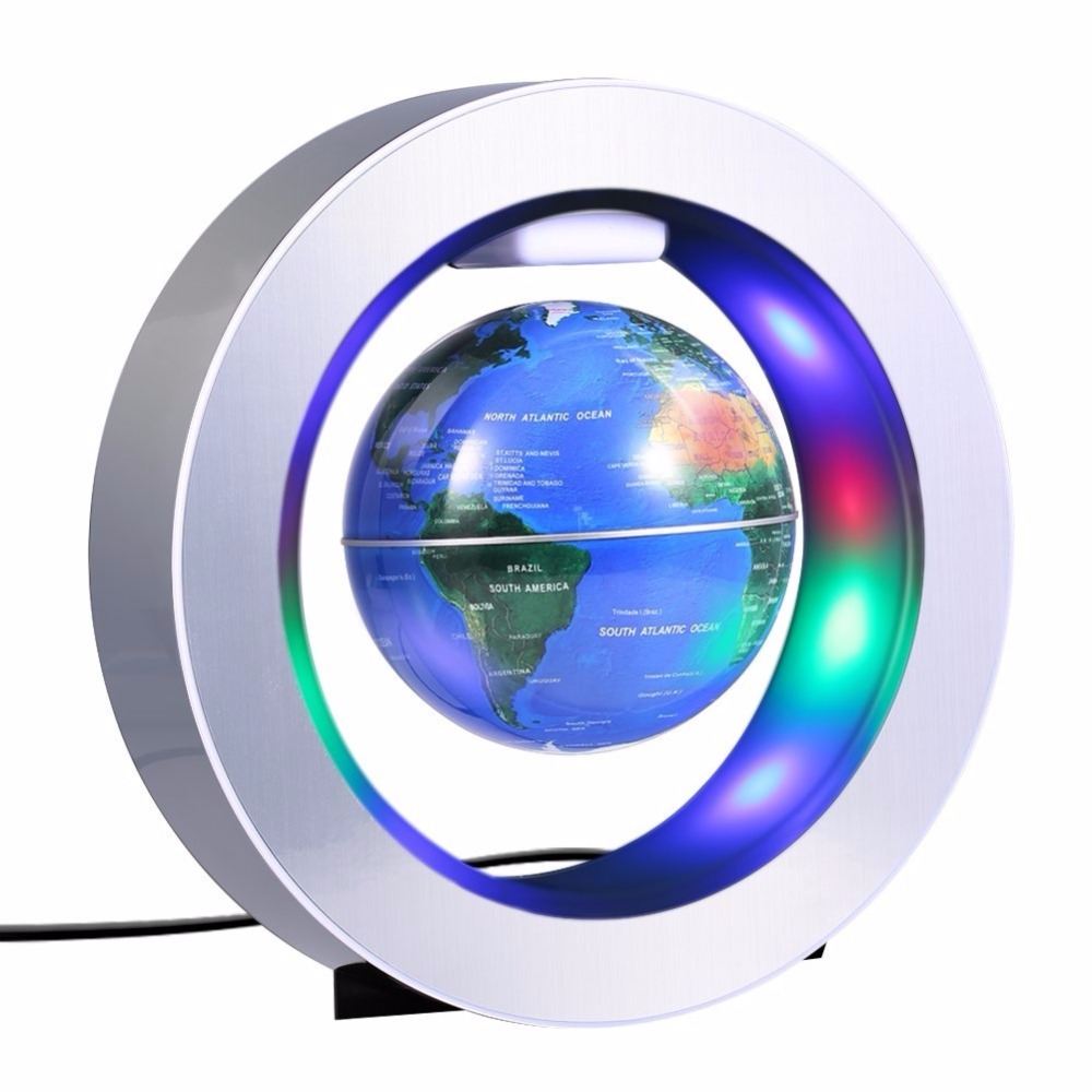 Magnetic Levitation Floating World Map with LED Light Lamp Globe Circular Shape Base Ant ...