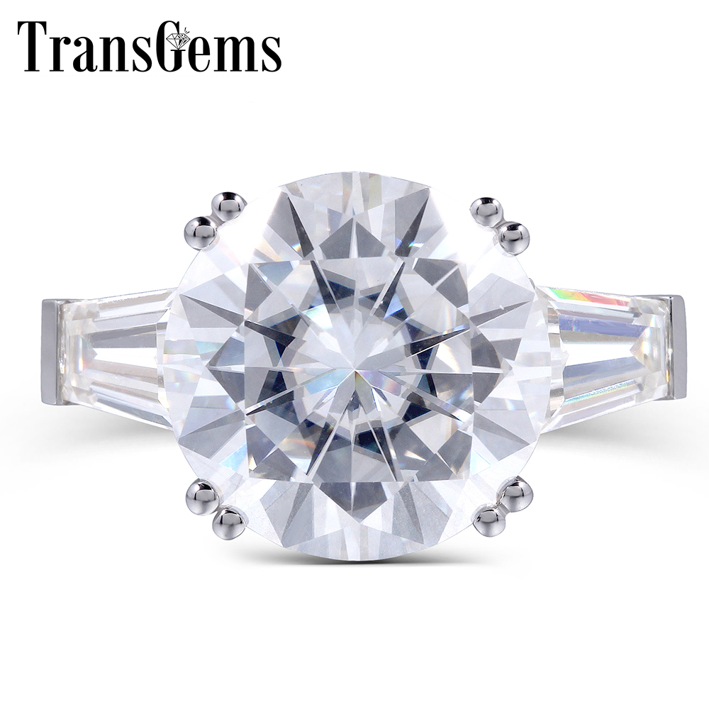 TransGems 8 Carat DE Color Lab Grown Moissanite Engagement Ring with Simulated Diamond Accents Solid 14K White Gold Women Band