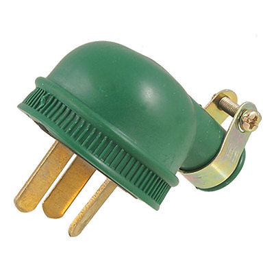 AC 250V 10A 3 Flat Pin Plug Water Resistant Green Shell Power Adapter 5 pcs 3 flat pin plug black ac power socket adapter replacement 250v 10a