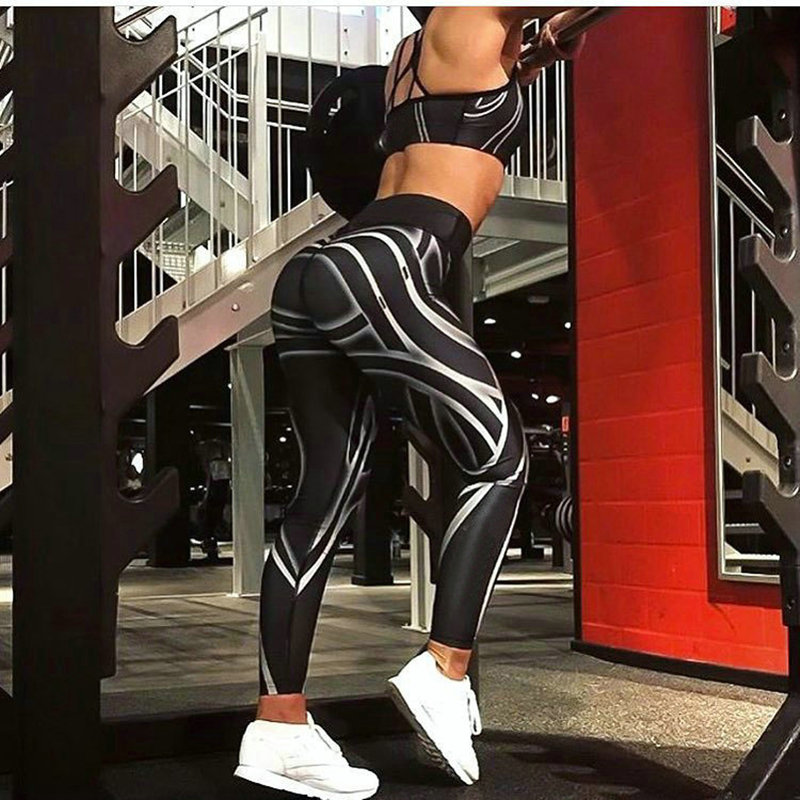 Femmes Taille Haute Imprimer Legging Fitness Sportives Séance D'entraînement Rapide Dry Leggings Pantalon Stretch Pantalon Musculation Leggins Pantalon