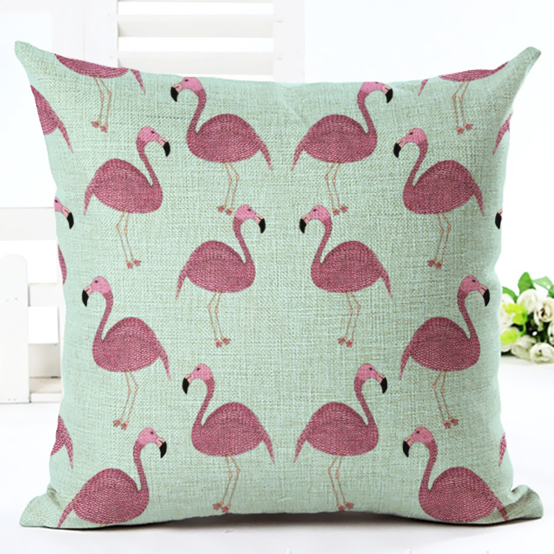 Fashion Pillowcase Flamingo Pillow Case Watercolor Square Cushion Cover Pillowcase Sofa Car Seat Home Decor DIY F