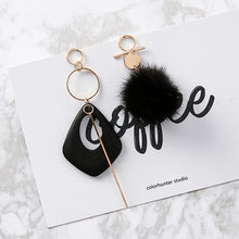 2017 Hot Sale Asymmetry Pom Pom Earrings Vintage Geometric Wooden Alloy Strip Fur Ball Pendientes Boucle D'oreille Women Gift(China)