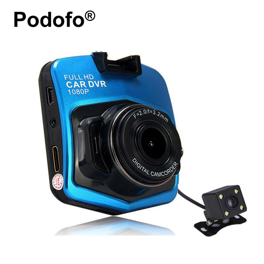 Podofo Dash Cam Dual Lens GT300 Car DVRs Camera Full HD 1080P Video Registrar with Backup Rear View Parking Recorder Blackbox