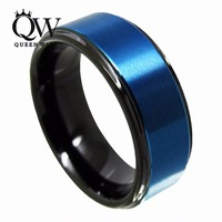 Queenwish 8mm Black Blue Tungsten Ring Engagement Finger His And Hers Wedding Bands Men Couples Statement
