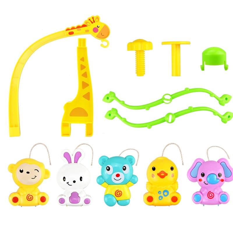 Купить с кэшбэком 4 in 1Musical Crib Mobile Bed Bell Kawaii Animal Baby Rattle Rotating Bracket Toys Giraffe Holder Wind-up Music Box Gift oyuncak