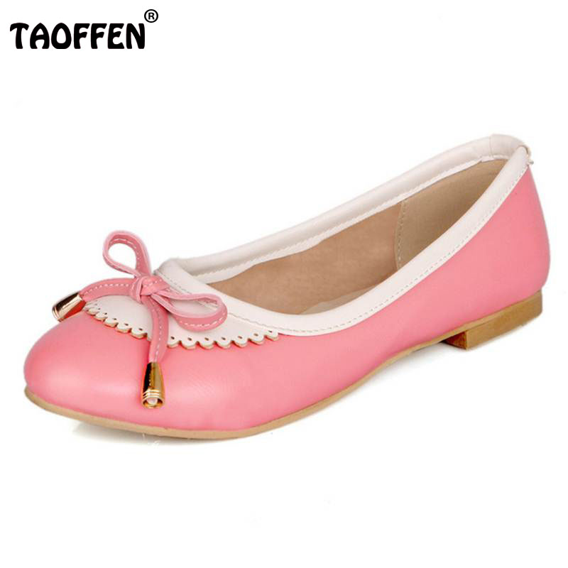 TAOFFEN Lady Mixed Color Flats Shoes Women Bowknot Slip On Sweet Flat Shoes Women'S Daily Concise Shallow Footwear Size 34-43 siketu sweet bowknot flat shoes soft bottom casual shallow mouth purple pink suede flats slip on loafers for women size 35 40