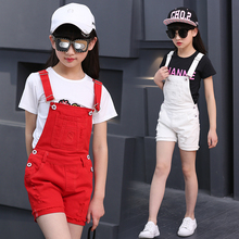 Girls Denim Overalls Spring autumn Fashion New Children Clothing Kids suspender trousers Solid Casual jeans short 3-14 Y