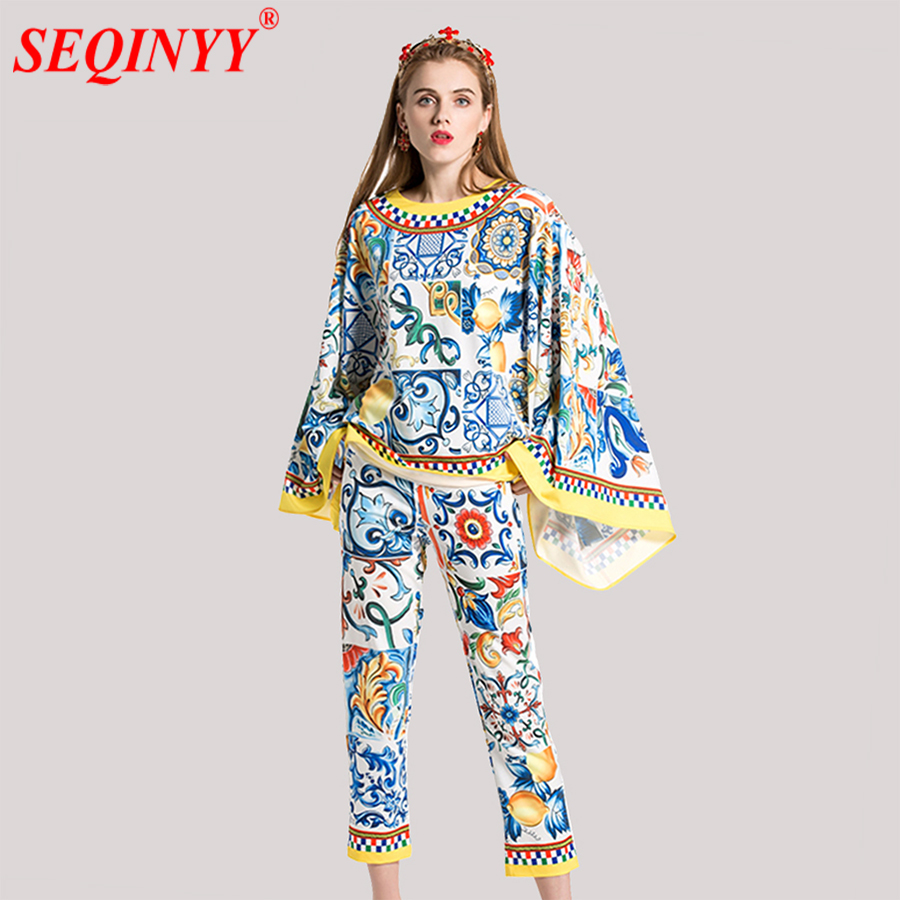 High Street Vintage Sets 2018 Spring New Floral Print Big Batwing Sleeve Loose Pullovers Fashion Cultivate
