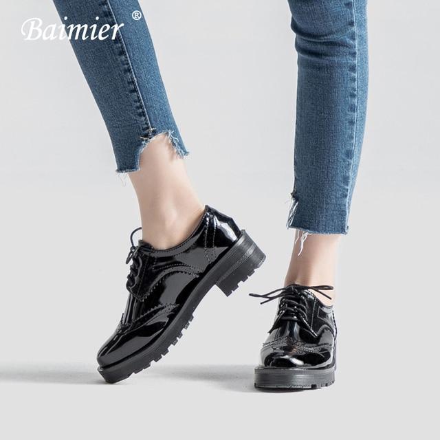 497ea2883d Baimier Black Oxford Shoes For Women Patent Leather Flat Shoes Women Lace  Up Shallow Oxfords Women British Style Brogues Women