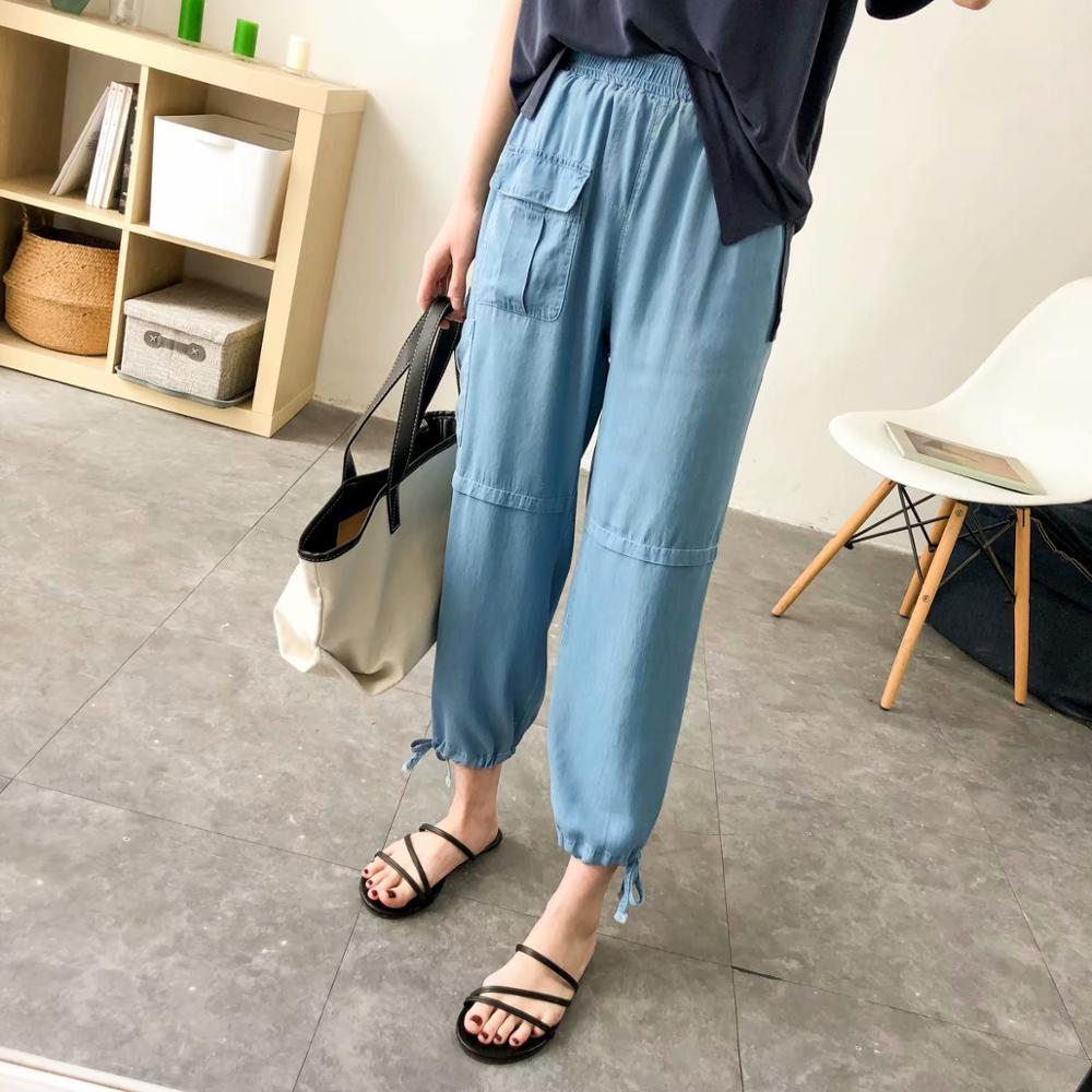 Women Thin Cargo   Pants   Summer Streetwear Causal High Waist Loose Female Trousers Korean Style Ladies   Pants     Capri