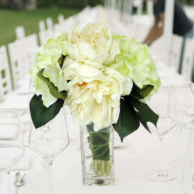 Online Shop Pu artificial flower creamy white peony green hydrangea ...