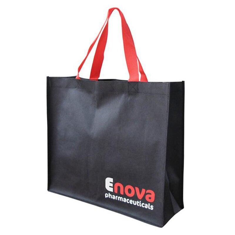 Venta al por mayor 500 unids/lote de bolsas de compra reutilizables de marca con logotipo impreso personalizado de la empresa-in Bolsas para compras from Maletas y bolsas    1