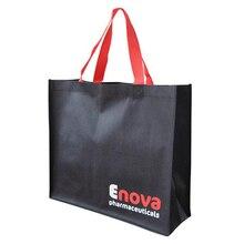 Оптовая продажа 500 шт./лот пользовательские печатные фирменного логотипа компании многоразовые нетканые сумки Ткань Продуктовый Рекламные Сумки для объявления